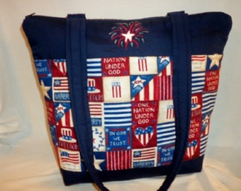 USA Patriotic purse 4th of July Liberty Freedom or USA Forever tote 10 pocket tote bag handbag celebrate summer tote bag