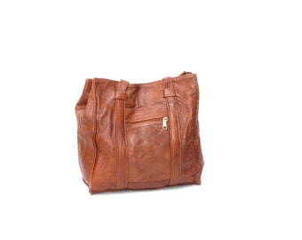 SALE brown leather 80s 90s GRUNGE TOTE messenger bag purse