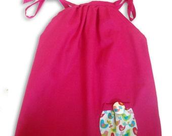 Girl's Pink Bird Dress / Children's Pillowcase Dress / Kids / Baby Clothes