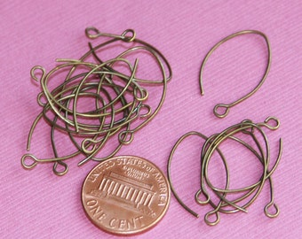 Bulk 100 pcs of antique brass leaf earwire 22X12.8mm - 22 gauge Hand made in USA