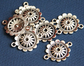 10 pcs of antique Silver  flower connector 21x3mm