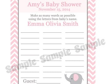 24 Personalized Baby Shower Name Game  - PINK Elephant