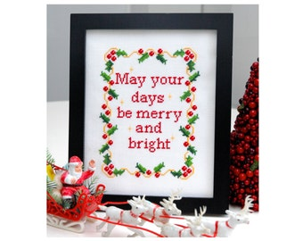 Merry Christmas Cross Stitch Pattern Instant Download
