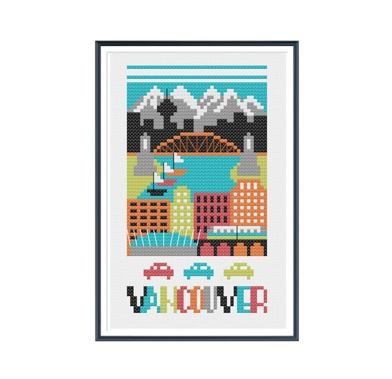 Vancouver Canada Cross Stitch Pattern Instant Download