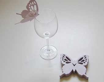 Wine Glass Butterfly Place Card Lavender Pearl Wedding Shower Anniversary Birthday (50)