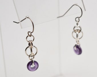 Sterling silver, purple CZ and titanium chainmaille gemstone dangle earrings