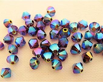 24 Burgundy AB2X Swarovski Crystal Beads Bicone 5328 4mm