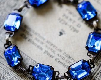 "Sapphire Blue Rhinestone ""Estate Bracelet"" - Something Blue"