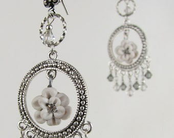 bridal earrings white flower filigree with Swarovski crystals and sterling silver