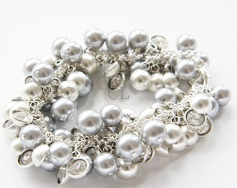 Silver Grey Pearl and Clear Crystal Bracelet (B12)