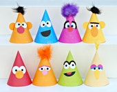 The Sesame Collection - Custom Party Hats SET of SIX from Mary Had a Little Party