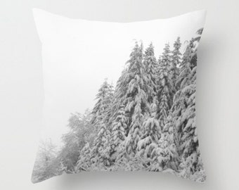 A Wintery Scene Pillow Cover Snow Trees Natural History Lovely Things Woodland Winter Forest Scene Snow Trees