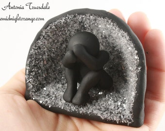 Art Therapy Sculptures - grief and healing - gift for therapist -  human figure in cave - depression and grief - made to order