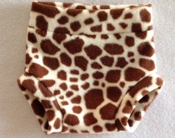 Wild Animal Print Fleece Diaper Cover