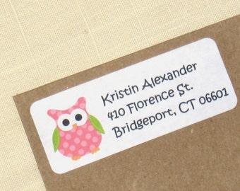 Pink Polka Dot Owl Address Labels - 90 Labels - Return Address Labels - Personalized Owl Labels