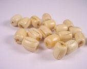 Vintage Faux Ivory Lucite Barrel Shaped Beads Looks Like Real Ivory 13x10 - 18 Pieces
