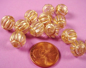 Vintage Clear Lucite and Gold Ribbed Beads 10mm Large Hole West German - 12 Pieces