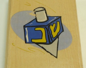 Dreidel Hanukkah Chanukah Wood Mounted Rubber Stamp By The Canadian Maple Collection