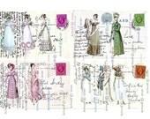 JANE AUSTEN GEORGIAN Ladies Printable instant Digital Download Cardmaking Postal Cards tags Regency Fashion Ladies Roses Pink