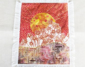 appliqued and embroiderd fabric art mini quilt, small quilt wall hanging, abstract sun fabric wall art
