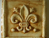 Handcarved Medieval Art Tile --Travertine Fleur de Lys