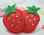 Bling Bling swarovski crystal with felt puffy strawberry--watermelon (FT695)