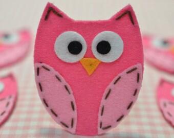 Set of 6pcs handmade felt owl--dark carnation/baby pink (FT722)
