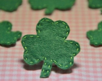 Set of 6pcs handmade felt Shamrocks--meadow green (FT886)