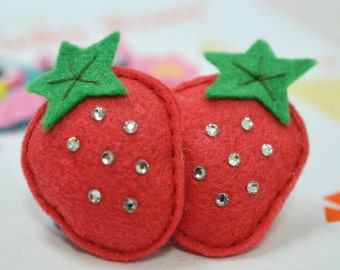 Bling Bling swarovski crystal with felt puffy strawberry--watermelon (FT695)