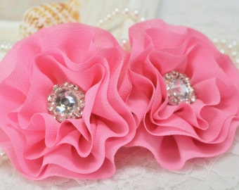Set of 2pcs handmade chiffon flowers--baby pink (FB1011)