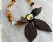 OOAK Necklace Feuillage d'or  (Golden foliage) - chocolate brown felt leaves, purple Venetian glass with gold foil, tiger quartz coin beads