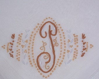 Vintage  White Hanky With a Tan Initial T - Handkerchief Hankie