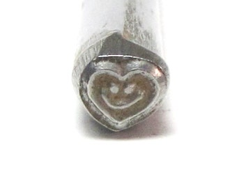 Smiley heart Design stamp for name and jewelry stamping 5x5mm