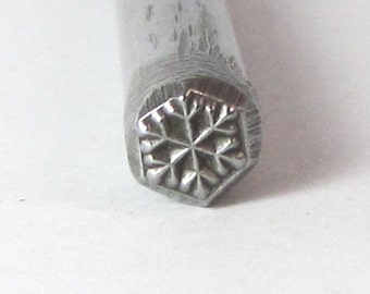 Snow Flake Winter Ice Design Stamp for charm stamping and silver working 5x5mm