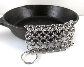 Chainmaille Cast Iron Pan Scrubber Stainless Steel Chainmail Pot-Scrubber