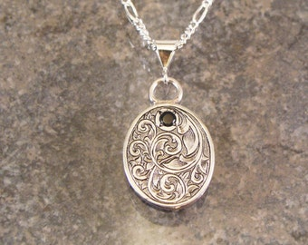 Hand Engraved Sterling Silver Oval Black Spinel Necklace