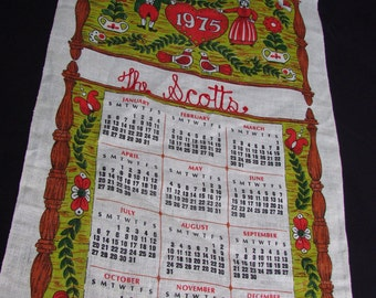 "Vintage 1975 Linen Calendar Towel with Large Heart and Hand Embroidery ""The Scotts"""