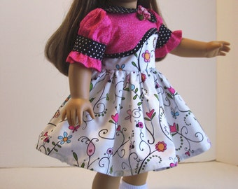 White and Pink Dress -18 inch dolls