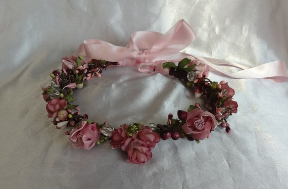 CUSTOM FOR LORA Pink Woodsy Crown with Purple Flowers and Butterflies