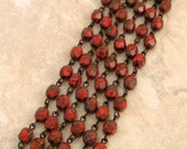Czech Rosary Chain, 6 MM Coral Marble Fire Polished Beads, Brass Ox Link, 1 Foot, C372