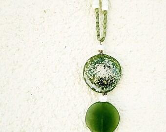 Roman Glass, Jade, Buried Bone, Labradorite, & Copper Necklace