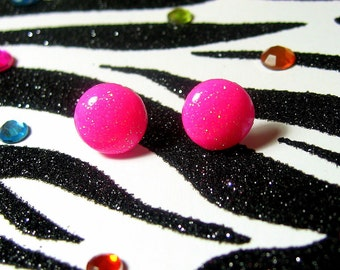 Neon Pink Earrings, Round Resin Studs, Simple Minimalist,  UV Rave Jewelry