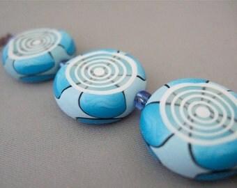 Handmade Art Clay Bead Set, 3 polymer clay beads, DIY jewelry