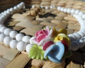 Vintage milk glass and porcelain rose and violet double strand choker