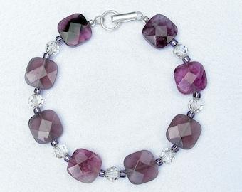 Purple Flourite Bracelet, Purple Bracelet, Purple Beaded Bracelet, Square Stone Bracelet