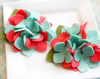 Wool Felt Flower Hydrangea MINT and CORAL Set of Two