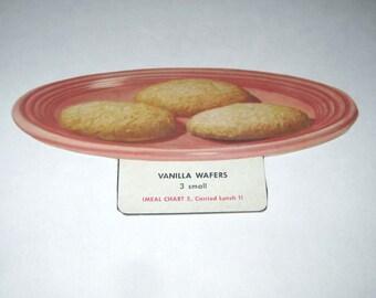 Vintage Food or Nutrition Die Cut Cardboard School Decoration of Vanilla Wafers or Cookies on a Plate