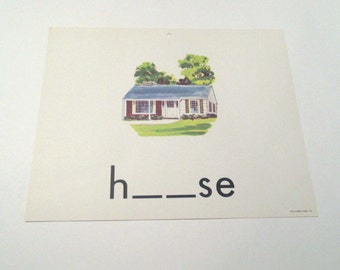 Vintage 1960s Children's Giant Sized School Flash Card with Picture and Word for House by Milton Bradley