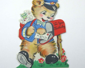 Vintage Children's Birthday Greeting Card with Mailman or Letter Carrier Bear by Hallmark