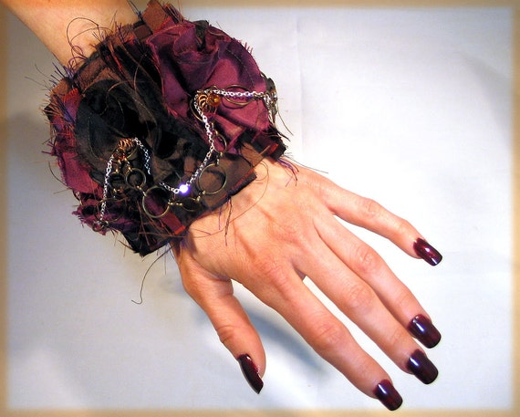 CLEARANCE Thai Silk and Ribbon Trim Dancing Steampunk Gypsy Cuff Bracelet